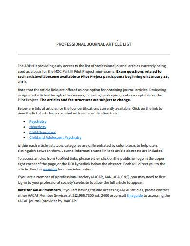 professional journal article list