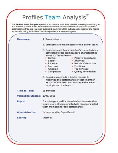 profile team analysis