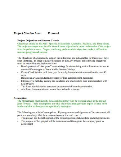 project charter loan protocol