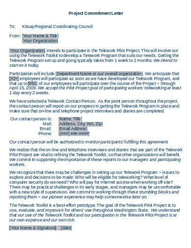 project commitment letter