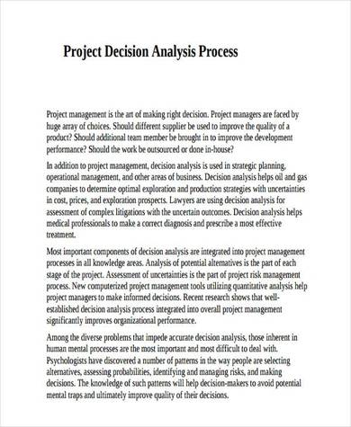 project decision analysis process sample