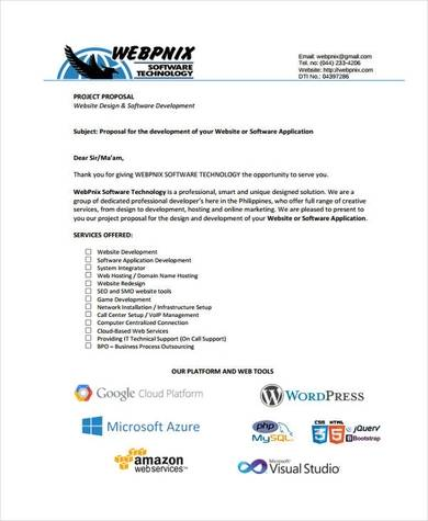 project proposal for website design and software development