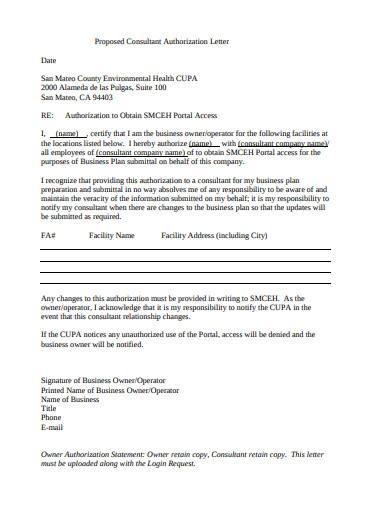 proposed consultant authorization letter
