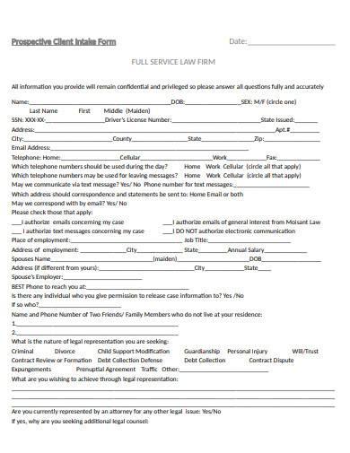 prospective client intake form