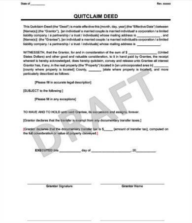 quitclaim deed sample template in docx