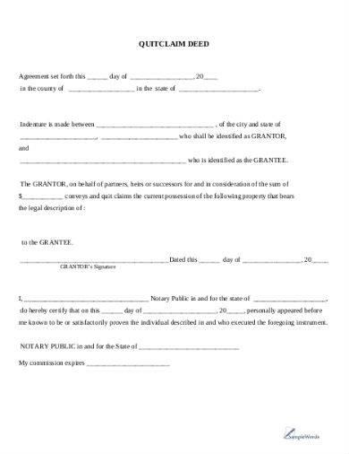 quitclaim deed sample template in pdf