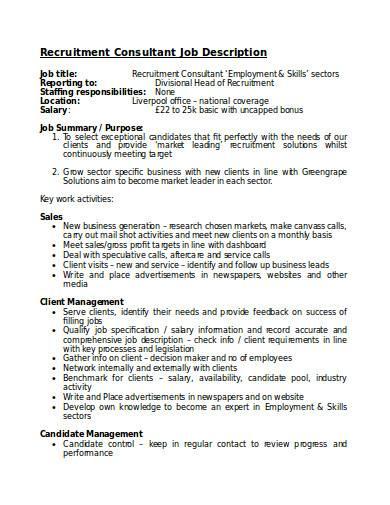 recruitment consultant job description in doc
