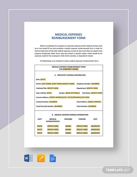 reimbursement form medical expenses template
