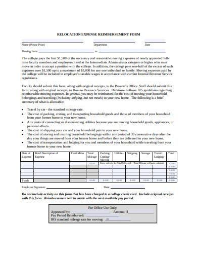 relocation expense reimbursement form