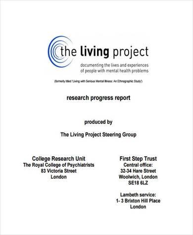 research progress report sample in pdf