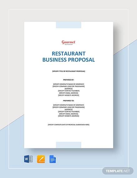 restaurant business proposal template