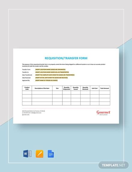 restaurant requisition transfer form template