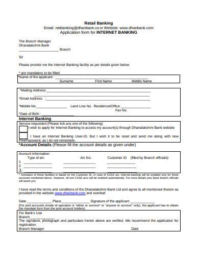 retail banking application form