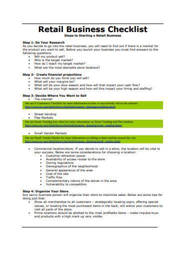 retail business checklist