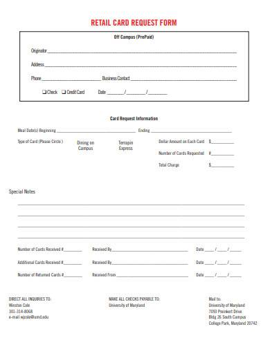 retail card request form