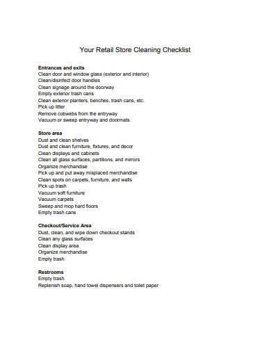 retail cleaning checklist template