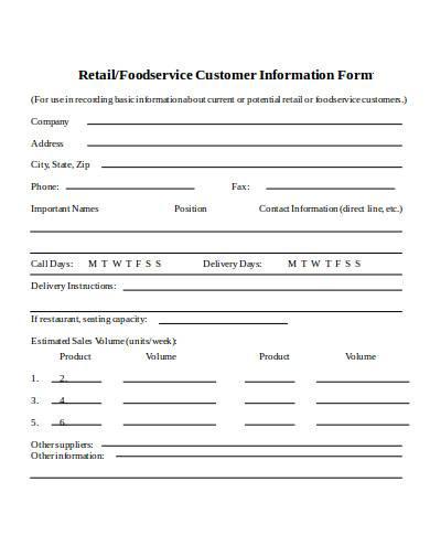 retail customer information form