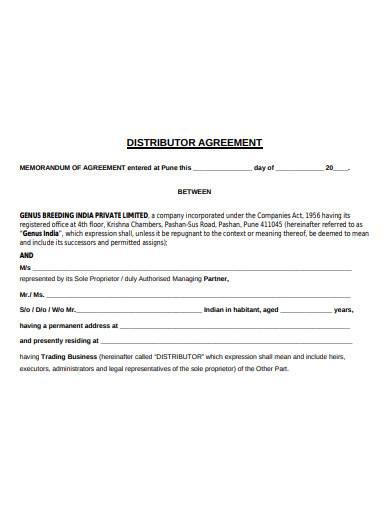 retail distributor agreement