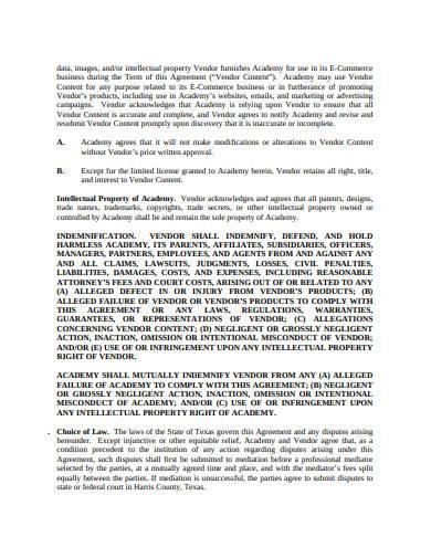 retail e comers vendor agreement template