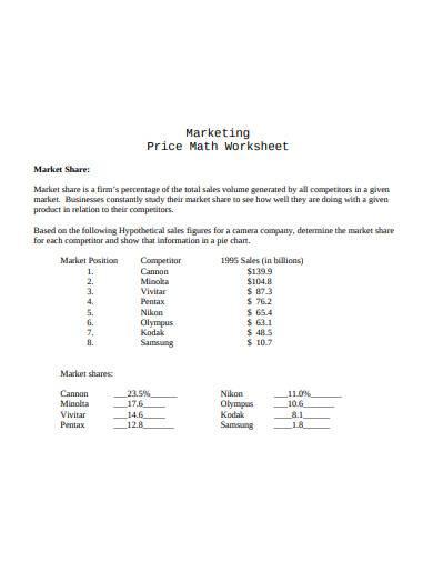 retail marketing worksheet
