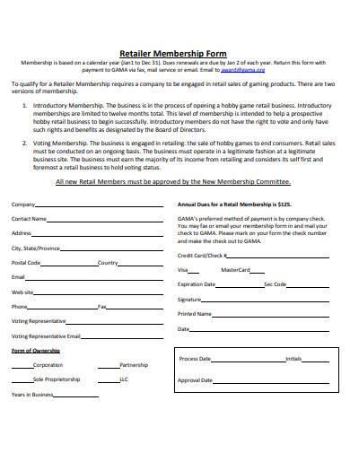 retail membership form
