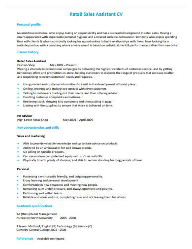 retail sales assistant cv sample