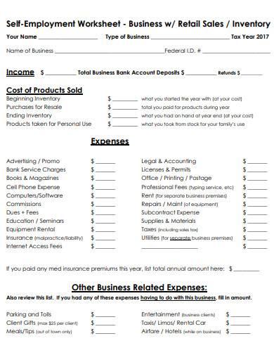 retail sales self employment worksheet