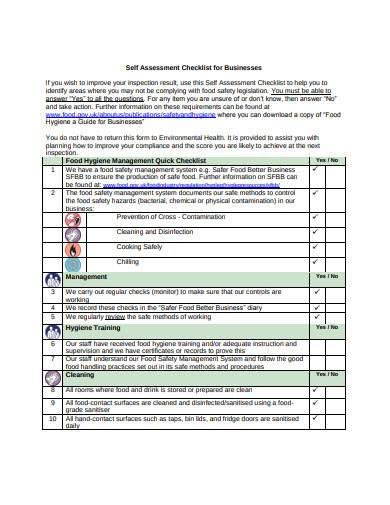 retail self assessment checklist for business