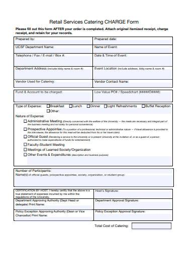retail services catering charge form