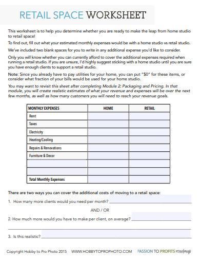 retail space worksheet