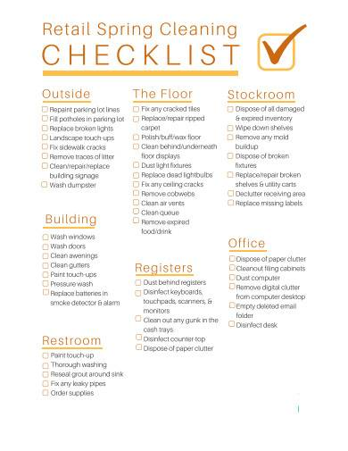 retail spring cleaning checklist template