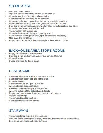 retail store cleaning checklist sample