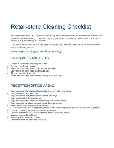 retail store cleaning checklist template
