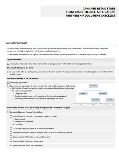 retail store partnership document checklist