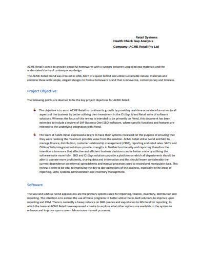 retail system health check gap analysis