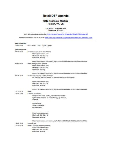 Free 10 Retail Meeting Agenda Samples In Pdf Ms Word
