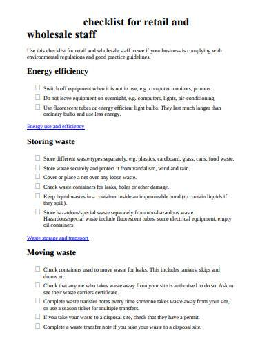 retail wholesale store checklist
