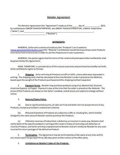 retailer distribution agreement
