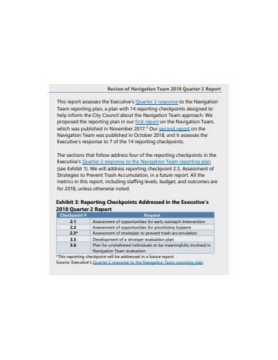 review of navigation team quarter report