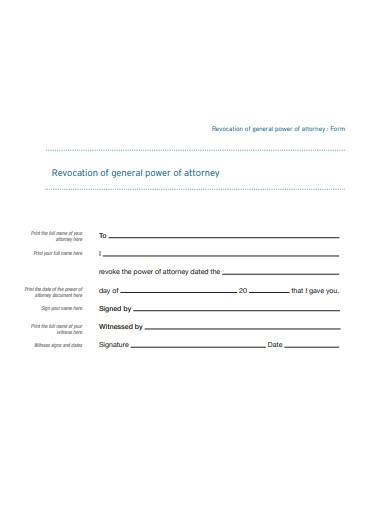 revocation of general power of attorney form