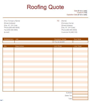 roofing repair quote template
