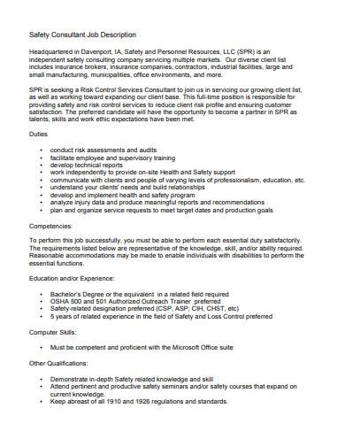 safety consultant job description