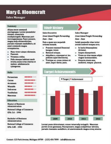 sales manager infographic resume