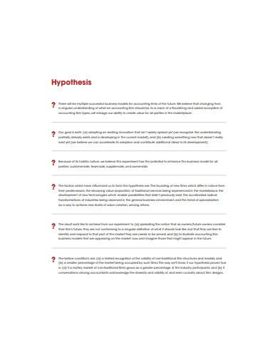 sample business model hypothesis template