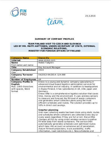 sample catering company profile template