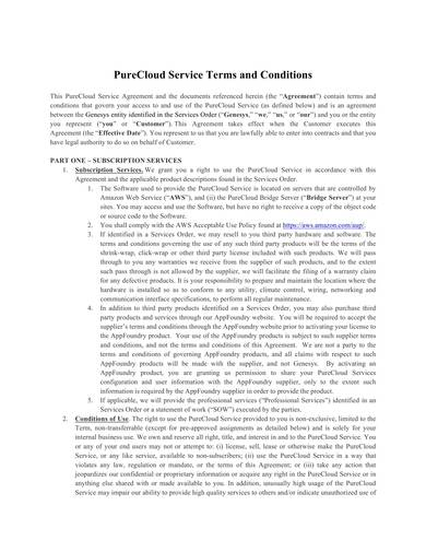 sample cloud service agreement terms and conditions