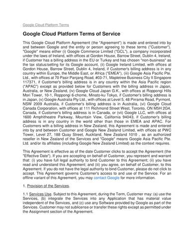 sample cloud service platform terms and conditions