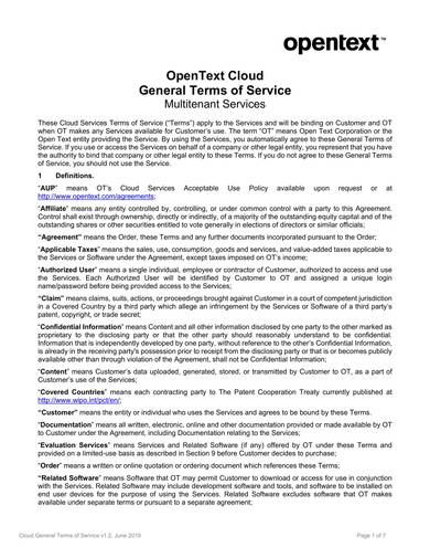 sample cloud service terms and conditions