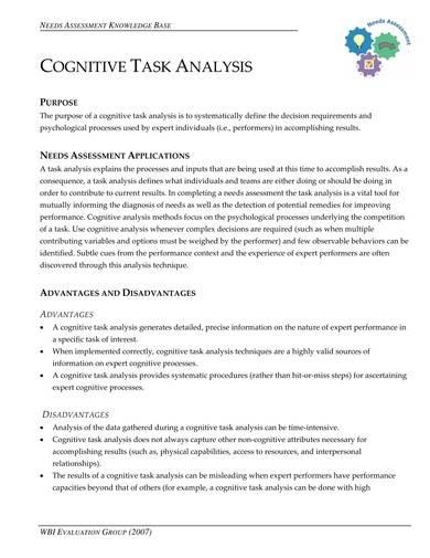 sample cognitive task analysis