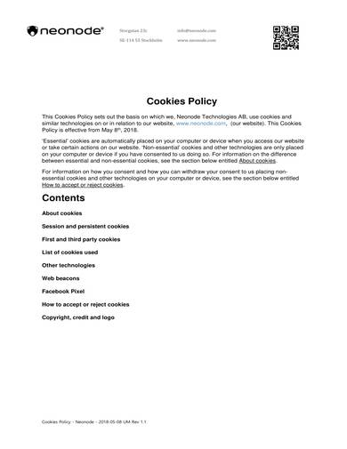 sample cookies policy